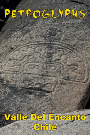 Alien-looking pre-Columbian rock art and other petroglyphs are scattered throughout Valle del Encanto, Chile