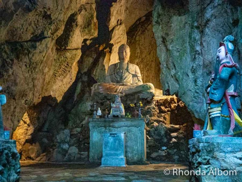 Buddha inside first cave at Marble mountain in Da Nang, Vietnam