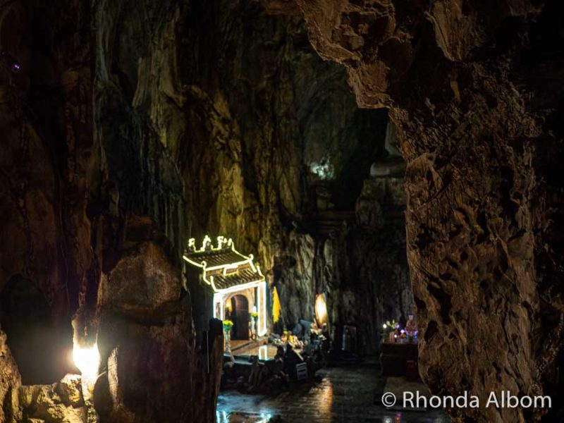 Inside a large cave at Marble mountain in Da Nang, Vietnam.