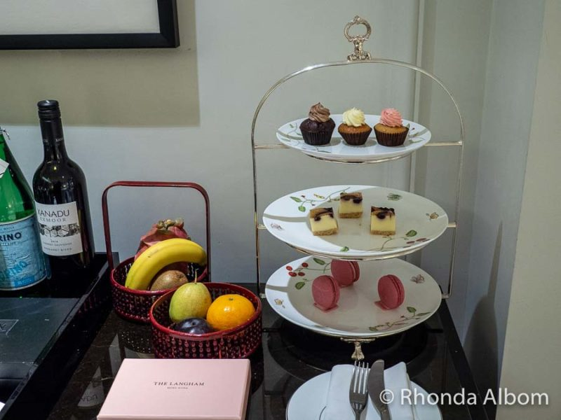 Welcome treats in our room in the Langham Hotel in Hong Kong