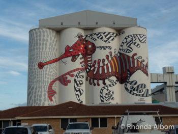Wheat silo art in Albany Western Australia, part of the Public Silo Trail