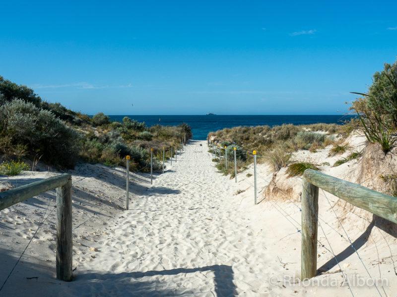 White sand path leading to Pinky Beach on Rottnest Island