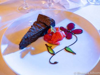 This chocolate cake was a Lactose and gluten free cruising success on Azamara Quest