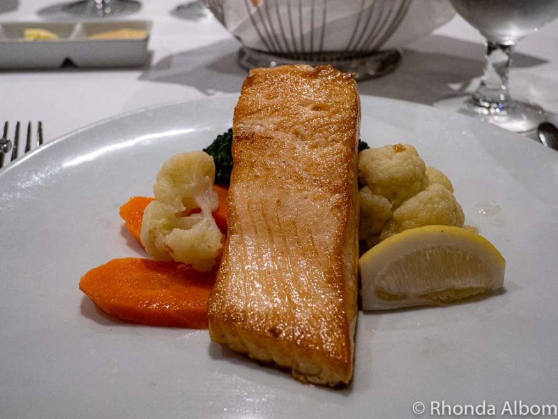 Salmon dinner while cruising with food allergies on the Azamara Quest