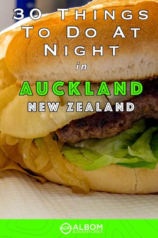 Close up of a pineapple hamburger from the White Lady food truck in Auckland New Zealand at night