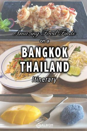 Shrimps with pomelo stir fry, pad thai, and sticky rice with mango are some of the dishes you can find when eating in Bangkok, Thailand.
