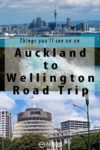 Auckand skyline, Huka Falls, and the parliament beehive building in New Zealand