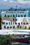 Scenes of the Auckland skyline, Huka Falls, the Tui brewery, and the Wellington funicular car in New Zealand