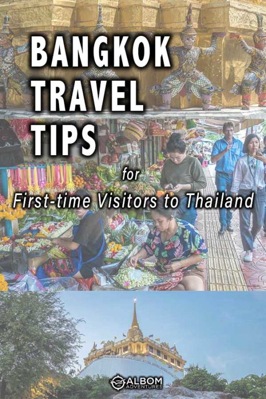 Collage of features from Bangkok Grand Palace, the flower market, and Golden Mountain