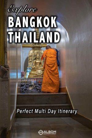 Monk seen at Golden Mountain in Bangkok Thailand