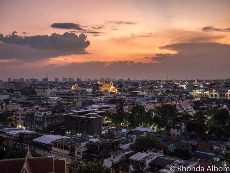 Orange sky as susnset overlooking some of the best of Bangkok Thailand