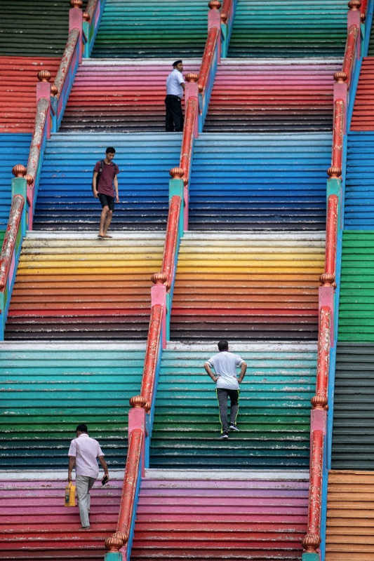 Batu caves staircase have been painted in a rainbow of colours.