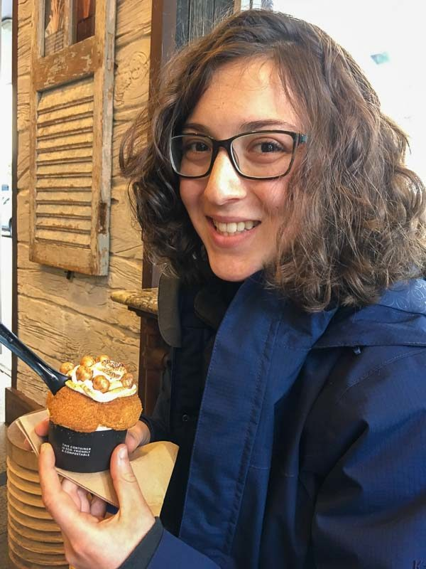 Girl enjoying cup of the best gelato in Auckland