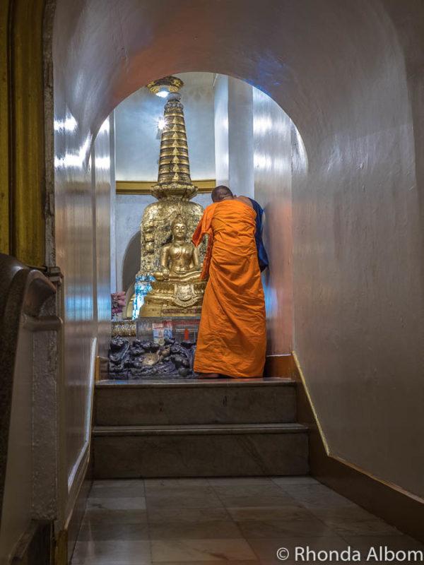 Monk at Golden Mountain in Bangkok Thailand.