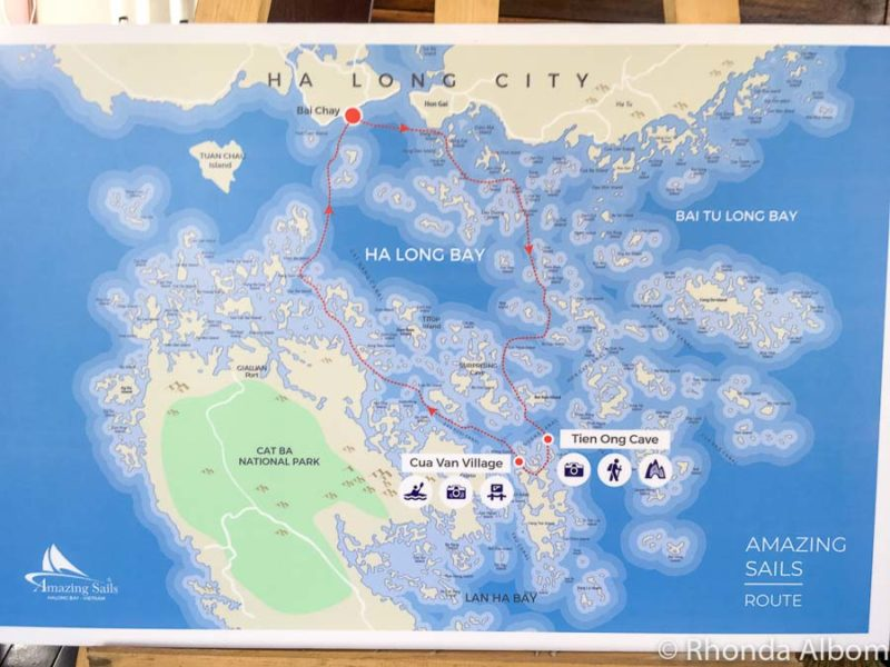 Halong Bay cruise map on Amazing Sails