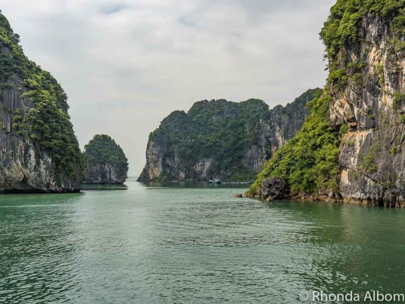 We were the only boat around as we cruised through the Halong Bay islands in Vietnam