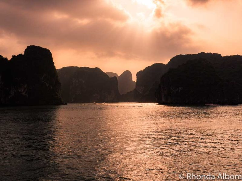 Sunset seen from a Halong cruise