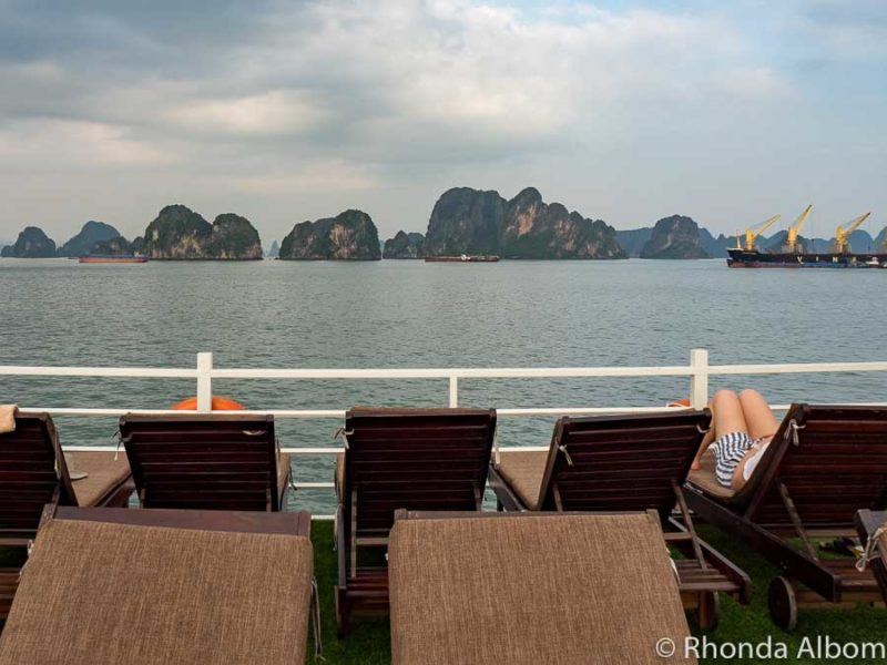 The upper deck of the Amazing Sails in Halong Bay, Vietnam