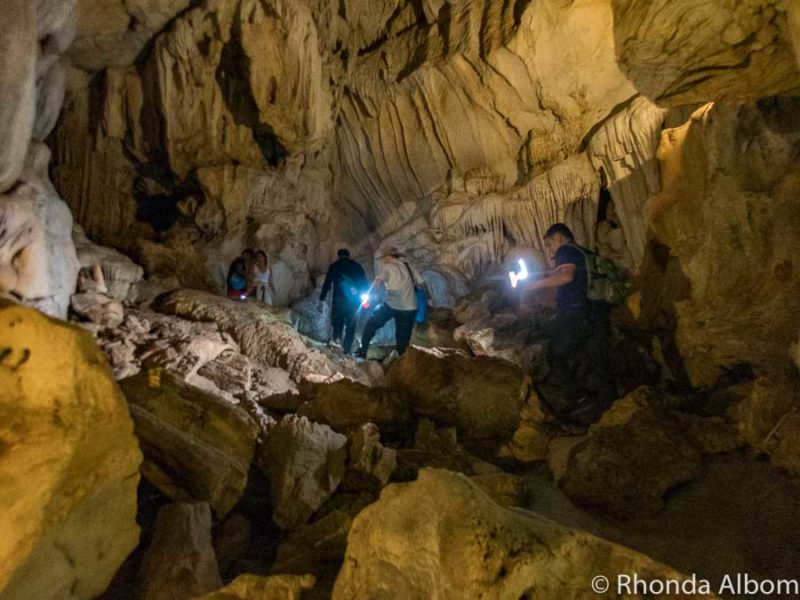 Inside Tien Ong Cave in Halong Bay Vietnam