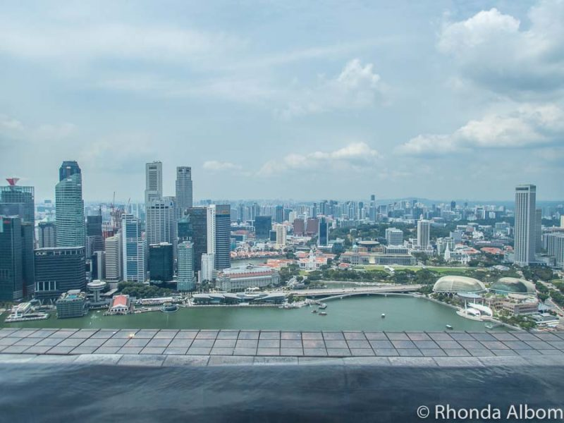 The view from the Marina Bay Sands rooftop infinity pool