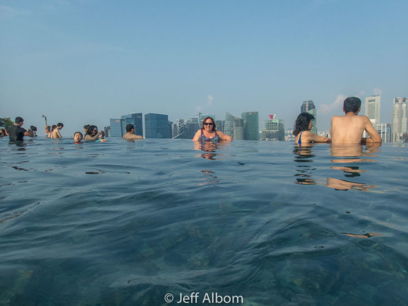 Morning is more crowded in the Marina Bay Sands Singapore infinity pool