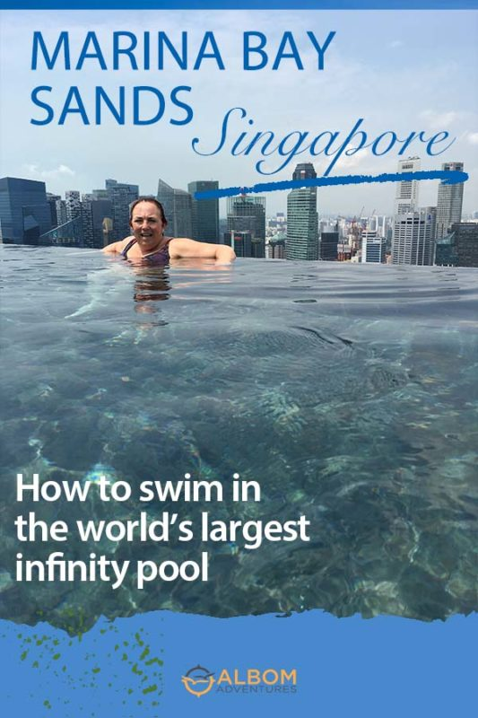 The world's largest infinity pool on the 57th floor rooftop of the Marina Bay Sands Hotel in Singapore