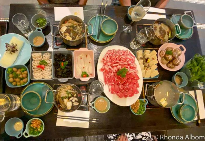 Our massive meal at Dainty Sichuan Hot Pot in Melbourne Australia