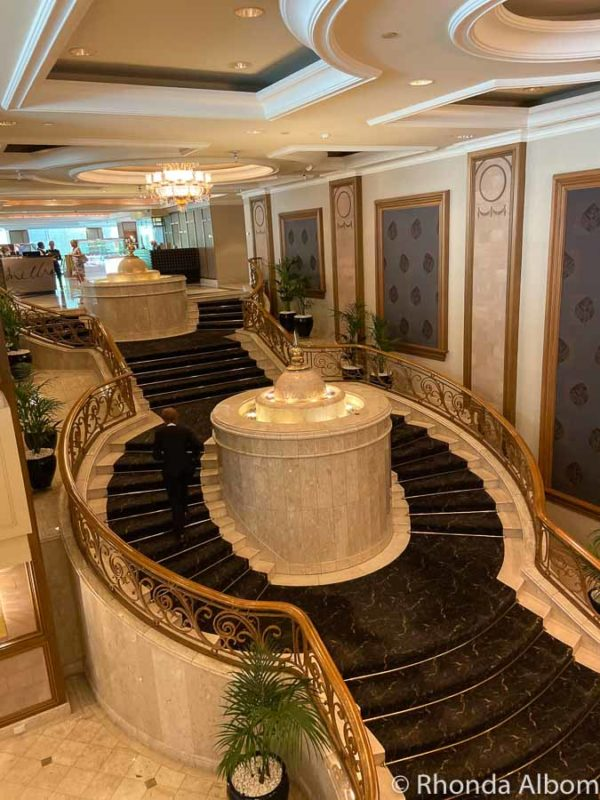 Elegant staircase in the lobby of the Langham Melbourne