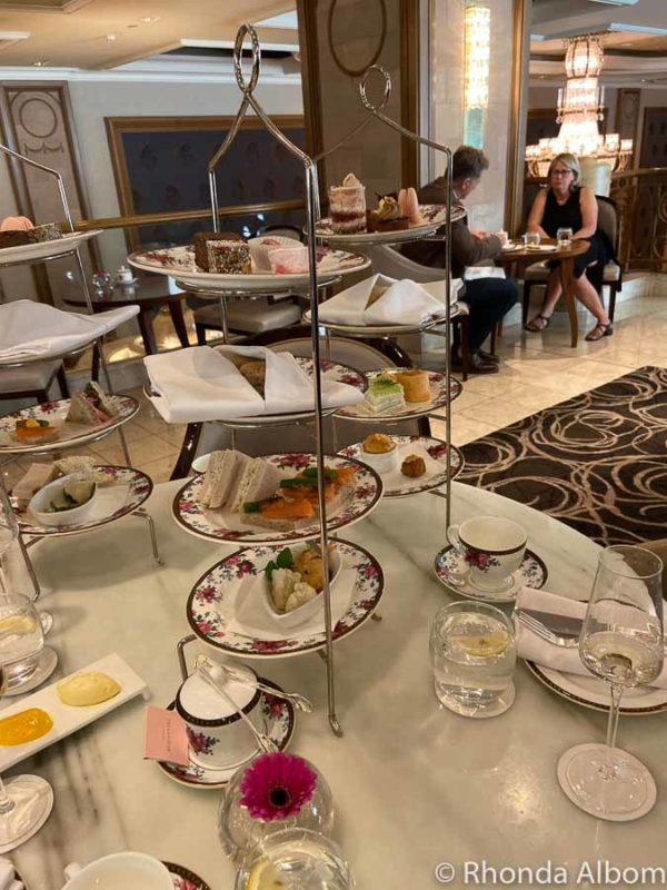 Three-tiered cake plate at Afternoon Tea at the Wedgwood Langham in Melbourne