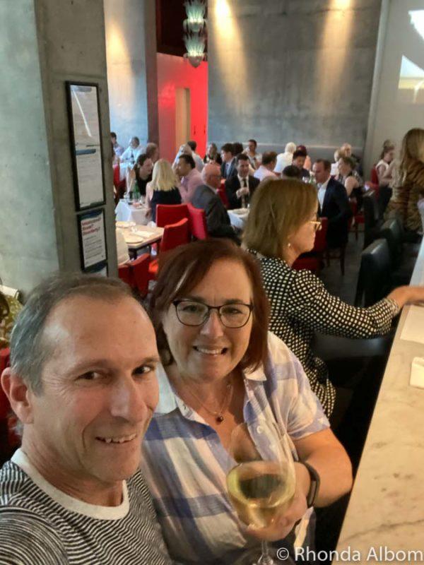 Jeff and Rhonda Albom having a glass of wine at the bar in Di Stasio Città in Melbourne Australia