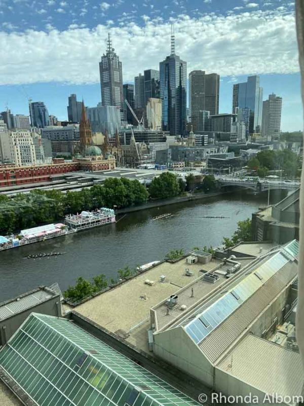 The view from our room in the Langham hotel overlooking the Yarra River and the city skyline.