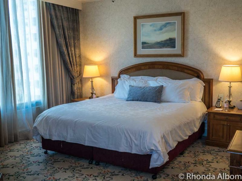 The comfortable and elegant bed in our room in the Langham Melbourne, Victoria Australia
