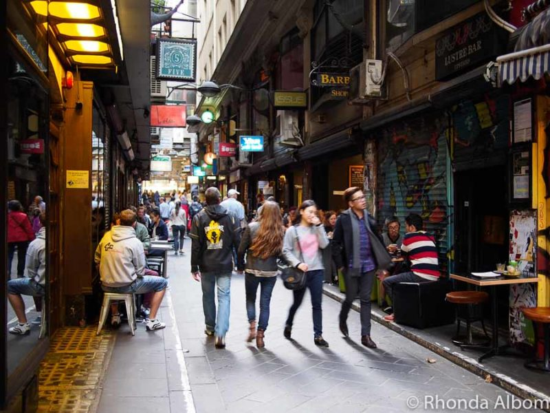 Degraves Street is a laneway lined with small cafes and shops offering several fun things to do in Melbourne for couples