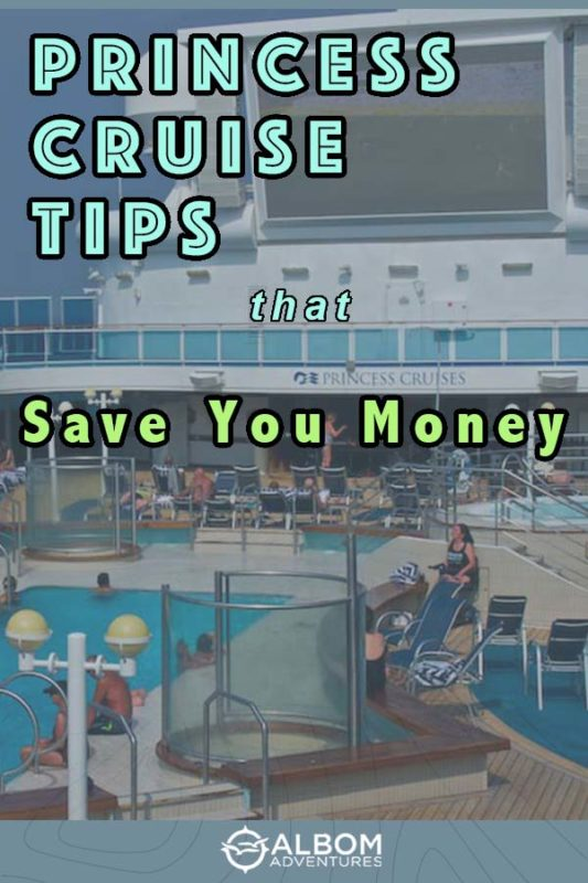 View of the pool deck with large outdoor movie screen on a Princess cruise ship.