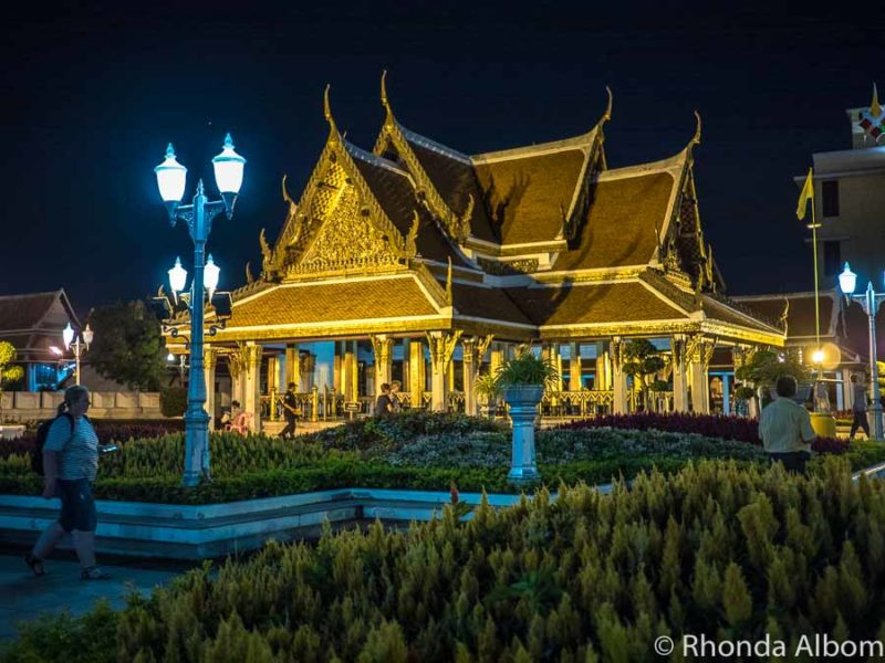 Royal Pavillion Mahajetsadabadin lit up at night in Thailand