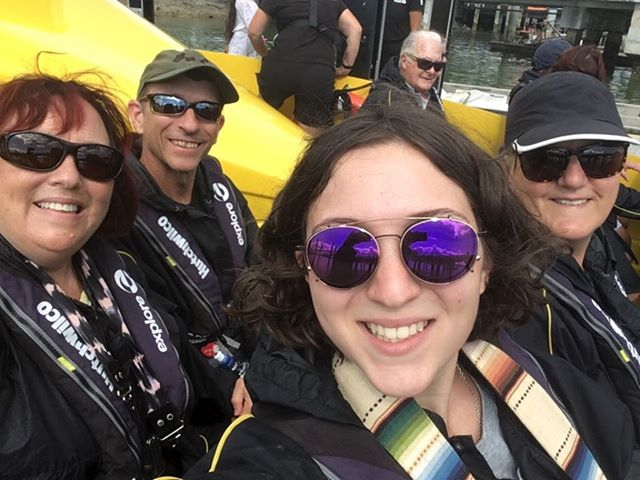 Selfie on the Explore Ocean Adventure boat, a fast boat out to the hole in the rock and one of the best things to do in the Bay of Islands New Zealand