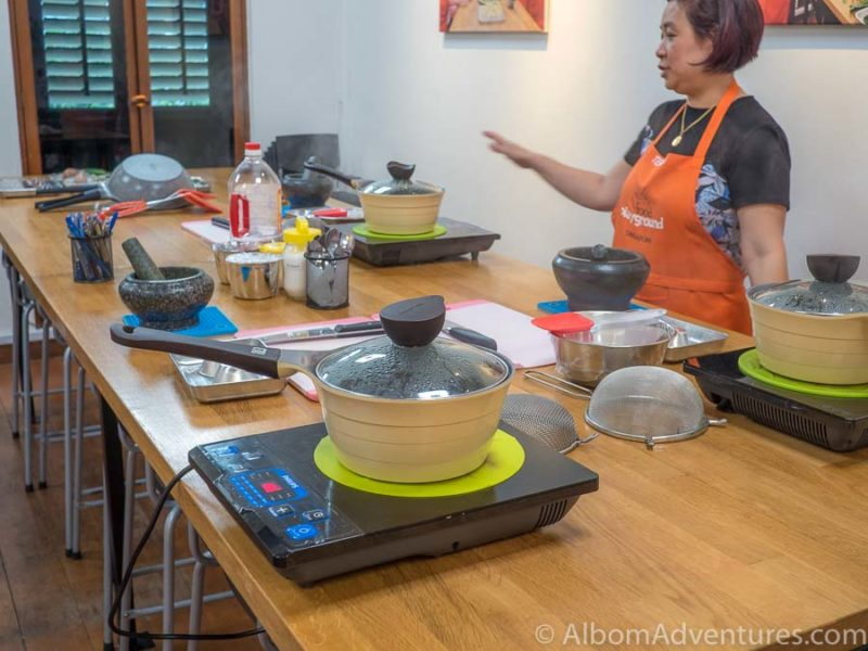 Boiling sago at four stations at Food Playground cooking school in Singapore.