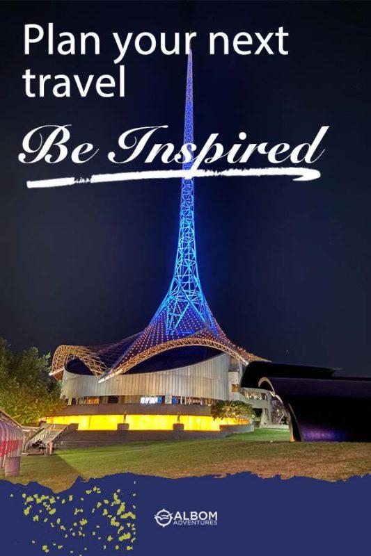 Spire at night over State Theatre of Melbourne in Australia