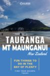 A view of Mount Maunganui from the beach in the Bay of Plenty New Zealand