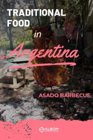 Full meat slab being cooked in traditional Argentina asado barbecue style