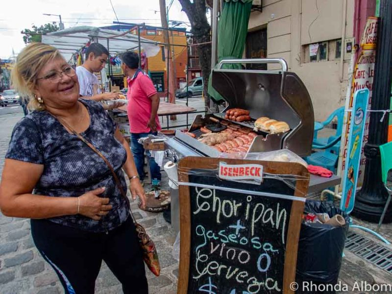 Choripan, a popular Argentinian Food, being BBQed at a street vendor in La Boca, Buenos Aires