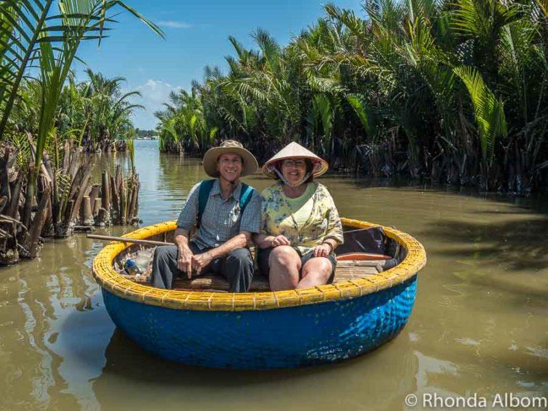 Jeff and Rhonda Albom a bamboo basket boat near Hoi An, Vietnam near Hoi An, Vietnam