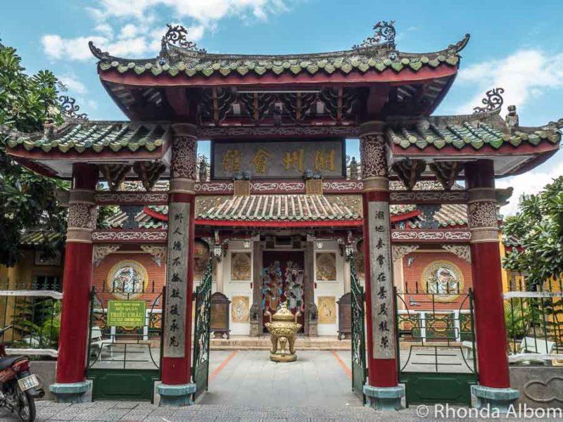 Colourful gate of the Trieu Chau temple in Hoi An, Vietnam