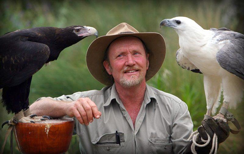 Handler with two birds of prey at Raptor Domain on Kangaroo Island