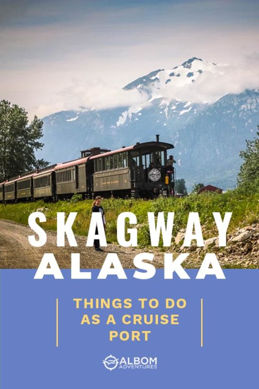 The White Pass Railroad in Skagway Alaska on the start of its run up the mountain
