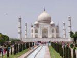 The long walkway leading to the main building as we visit Taj Mahal, Agra, India