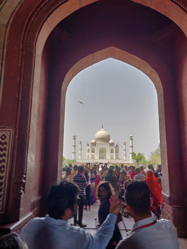 Looking through the entrance gate of the Taj Mahal