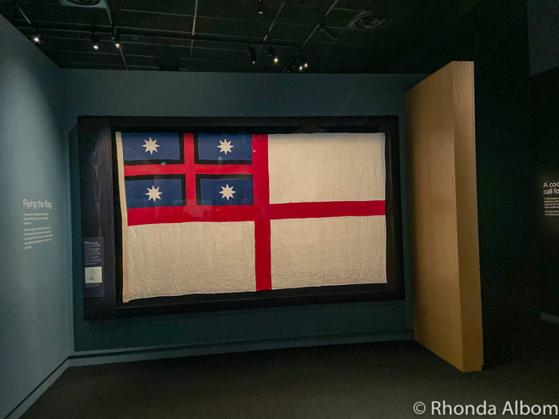 Flag of the United Tribes of New Zealand, the country's first flag inside the Waitangi Museum