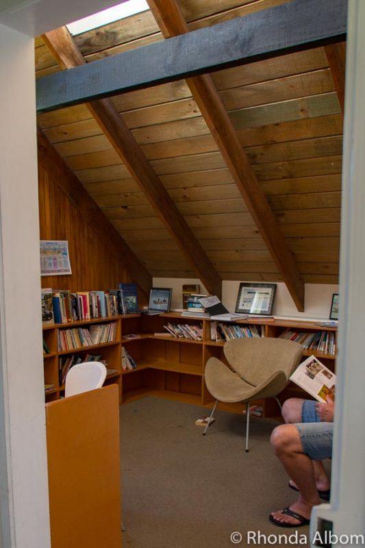 Library at a Papamoa beach accommodation