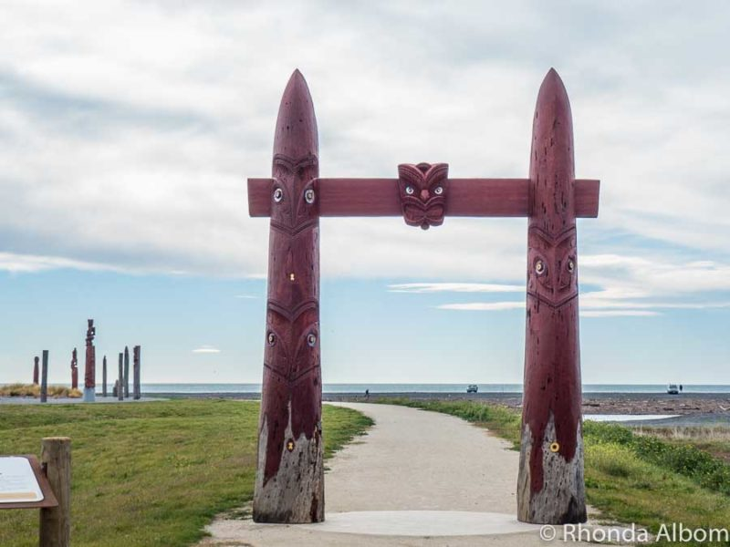 Entrance gate at the Atea a Rangi Celestial Star Compass in Clive, near Napier New Zealand